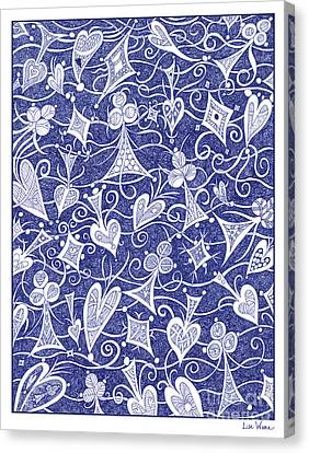 Hearts, Spades, Diamonds And Clubs In Blue Canvas Print by Lise Winne