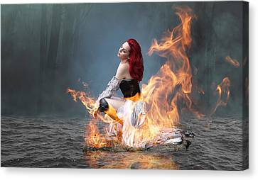 Canvas Print featuring the mixed media This Girl Is On Fire by Marvin Blaine
