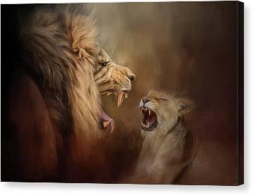 Heated Conversation Lion Art Canvas Print by Jai Johnson