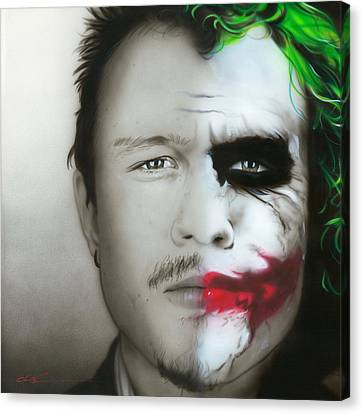 ' Heath Ledger / Joker ' Canvas Print by Christian Chapman Art