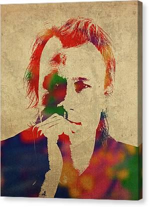 Heath Ledger Canvas Print - Heath Ledger Watercolor Portrait by Design Turnpike
