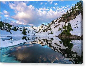Heather Meadows Blue Ice Reflection Cloudscape Canvas Print by Mike Reid