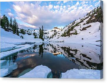 North Cascades Canvas Print - Heather Meadows Reflection Cloudscape by Mike Reid