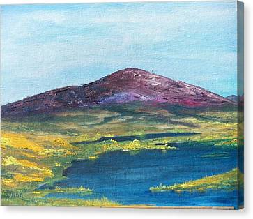 Canvas Print featuring the painting Heather Mountain by Conor Murphy