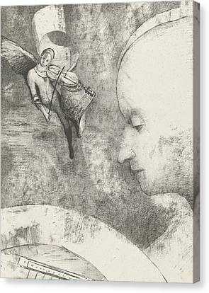 Black And White Human Figure Drawing Canvas Print - Heavenly Art by Odilon Redon