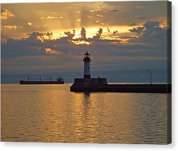 Duluth Canal Park Canal Park Lighthouse Lighthouse Lake Superior Minnesota Canvas Print - Heavenly Light by Alison Gimpel