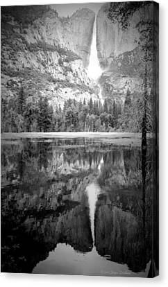 Heavenly Reflections At Yosemite B And W Canvas Print