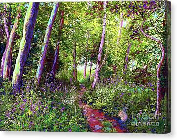 Squirrel Canvas Print - Heavenly Walk Among Birch And Aspen by Jane Small