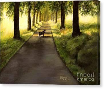 Serenity - Walk With Black Labrador Canvas Print