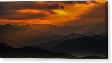 Heaven's Light On The Blue Ridge Parkway Canvas Print