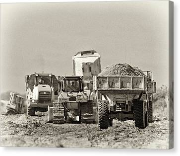 Heavy Equipment Meeting Canvas Print by Patrick M Lynch