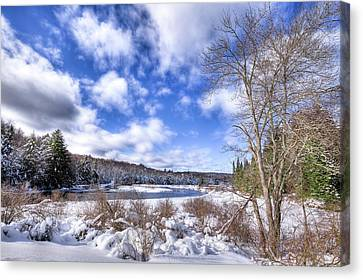 Canvas Print featuring the photograph Heavy Snow At The Green Bridge by David Patterson