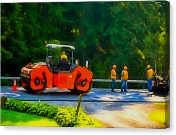 Heavy Tandem Vibration Roller Compactor At Asphalt Pavement Works For Road Repairing 2 Canvas Print by Lanjee Chee
