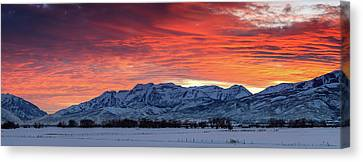 Canvas Print featuring the photograph Heber Valley Panoramic Winter Sunset. by Johnny Adolphson
