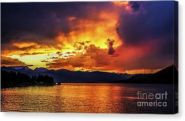 Canvas Print featuring the photograph Hebgen Lake Sunset by Jemmy Archer