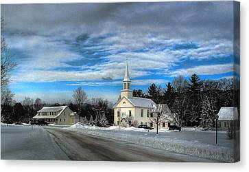 Canvas Print featuring the photograph New Snow On Hebron Common by Wayne King
