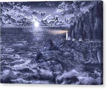 Beach Scenes Canvas Print - Heceta Head Light Blue by Bekim Art