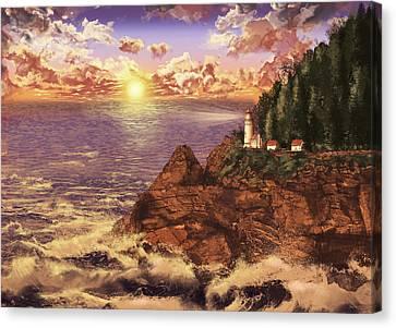 Beach Scenes Canvas Print - Heceta Head Light by Bekim Art