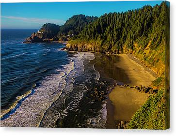 Heceta Head Lighthouse And Beaches Canvas Print