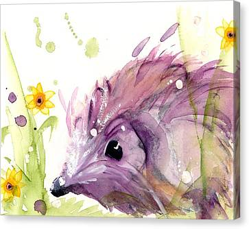 Hedgehog In The Wildflowers Canvas Print