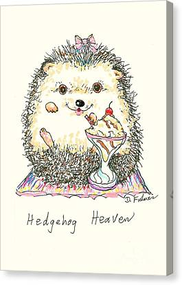 Hedgehog Heaven Canvas Print by Denise Fulmer