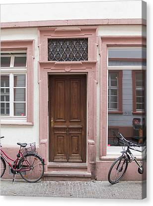 Wrought Iron Bicycle Canvas Print - Heidelberg Door 12 by Teresa Mucha