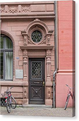 Wrought Iron Bicycle Canvas Print - Heidelberg University Building Door by Teresa Mucha