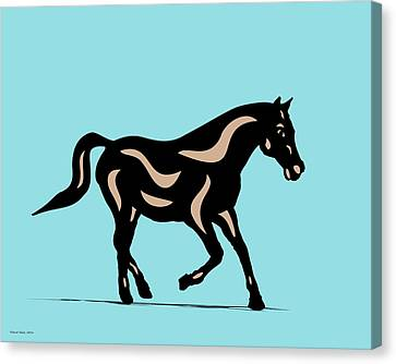 Heinrich - Pop Art Horse - Black, Hazelnut, Island Paradise Blue Canvas Print