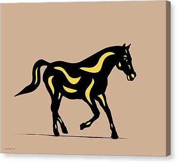 Heinrich - Pop Art Horse - Black, Primrose Yellow, Hazelnut Canvas Print