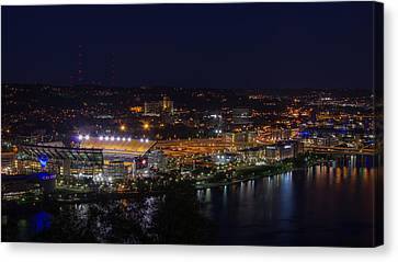 Heinz Field At Night From Mt Washington Canvas Print by Lori Coleman