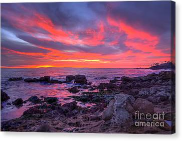 Canvas Print featuring the photograph Heisler Park Tide Pools At Dusk by Eddie Yerkish