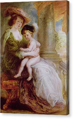 Peter Paul Rubens Canvas Print - Helene Fourment And Her Son Frans by Rubens