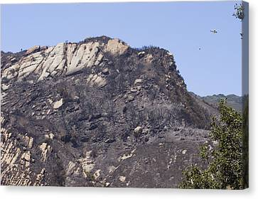 Helicopter Dousing The Gaviota Fire Canvas Print by Rich Reid