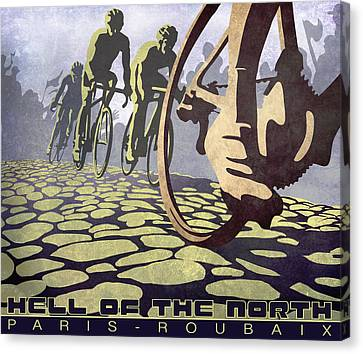 Hell Of The North Retro Cycling Illustration Poster Canvas Print by Sassan Filsoof