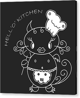 Hell Oh Katy - She-devil Cartoon In Kitchen Will Cook The Best For You And You Friends Canvas Print by Pedro Cardona