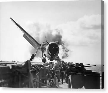 Hellcat Aircraft Slams Into U S S Enterprise Carrier  1943 Canvas Print by Daniel Hagerman