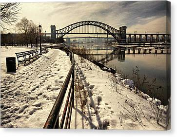 Hellgate Bridge In Winter Canvas Print