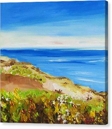 Hornby Island Canvas Print - Helliwell Blue by Coral May Barclay
