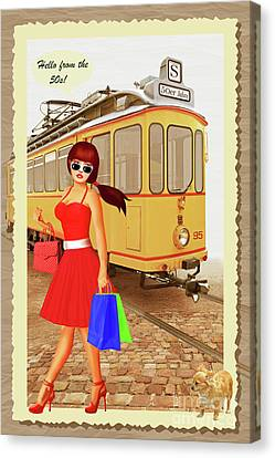 60s Canvas Print - Hello From The 50s Tram by Monika Juengling