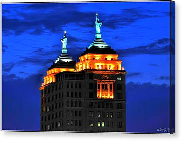 Hello Goodbye In Stormy Skies Atop The Liberty Building Canvas Print