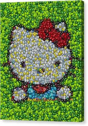 Hello Kitty Mm Candy Mosaic Canvas Print by Paul Van Scott