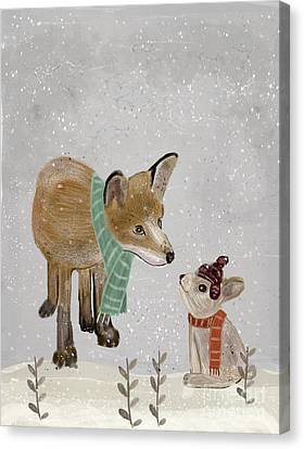 Canvas Print featuring the painting Hello Mr Fox by Bri B