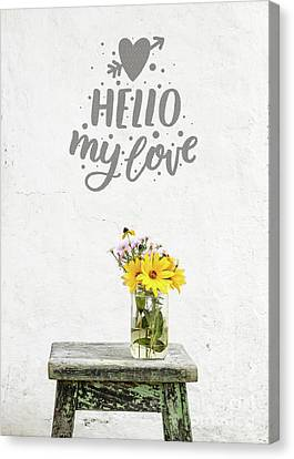 Canvas Print featuring the photograph Hello My Love Card by Edward Fielding