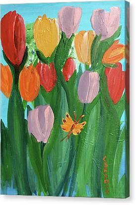 Hello Spring Tulips Canvas Print