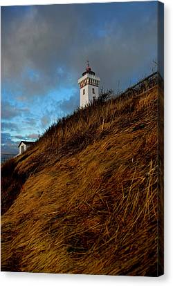 Helnaes Lighthouse Canvas Print by Robert Lacy