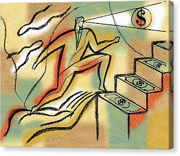 Canvas Print featuring the painting Helping Hand And Money by Leon Zernitsky