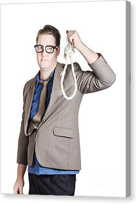 Helpless Businessman Holding Rope With Tied Noose Canvas Print