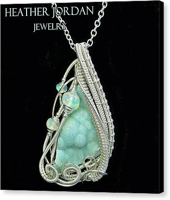 Hemimorphite Druzy Wire-wrapped In Sterling Silver With Ethiopian Welo Opals Hmphpss2 Canvas Print by Heather Jordan