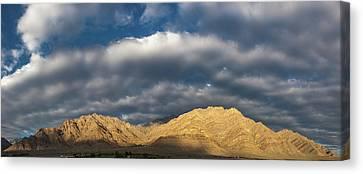 Canvas Print featuring the photograph Hemis Panorama, Karu, 2005 by Hitendra SINKAR