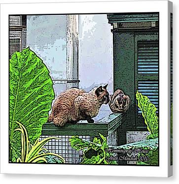 Hemmingway Cats Canvas Print by Joan  Minchak